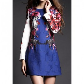 Vintage Jewel Neck Long Sleeves Printed Jacquard Dress For Women