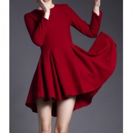 Vintage Jewel Neck Long Sleeves Solid Color Asymmetric Dress For Women
