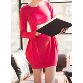 Vintage Jewel Neck Long Sleeves Solid Color Bud Dress For Women