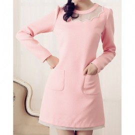 Vintage Jewel Neck Long Sleeves Voile Splicing Beading Pocket Dress For Women