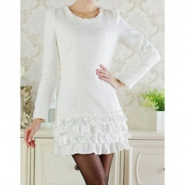 Vintage Jewel Neck Long Sleeves White Flounce Dress For Women