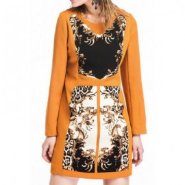 Vintage Jewel Neck Printed Long Sleeves Dress For Women
