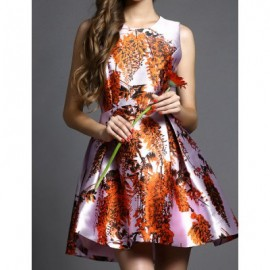 Vintage Jewel Neck Printed Sleeveless Dress For Women