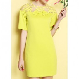 Vintage Jewel Neck Short Sleeves Voile Splicing Embroidered Dress For Women