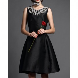 Vintage Jewel Neck Sleeveless Beading Bowknot Dress For Women