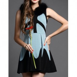Vintage Jewel Neck Sleeveless Color Block Dress For Women