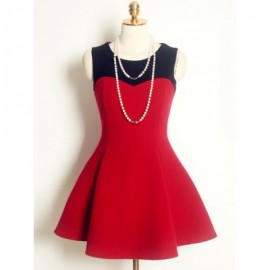 Vintage Jewel Neck Sleeveless Color Splicing Woolen Dress For Women