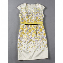 Vintage Jewel Neck Sleeveless Embroidered Dress For Women