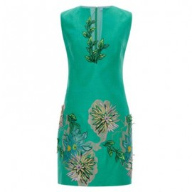 Vintage Jewel Neck Sleeveless Embroidered Floral Dress For Women
