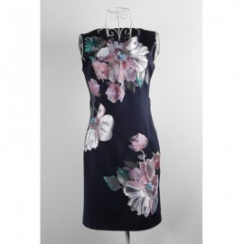 Vintage Jewel Neck Sleeveless Floral Embroidered Dress For Women