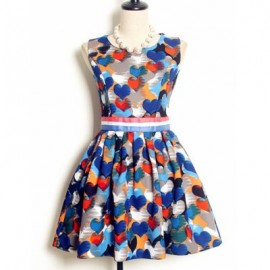 Vintage Jewel Neck Sleeveless Heart Printed Dress For Women