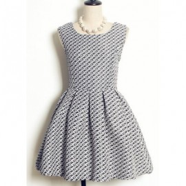 Vintage Jewel Neck Sleeveless Houndstooth Dress For Women