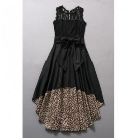 Vintage Jewel Neck Sleeveless Lace Splicing Leopard Asymmetric Dress For Women