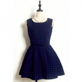 Vintage Jewel Neck Sleeveless Little Polka Dot Belt Bowknot Dress For Women