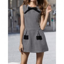 Vintage Jewel Neck Sleeveless Plaid Bowknot Dress For Women