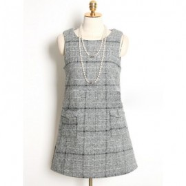 Vintage Jewel Neck Sleeveless Plaid Pocket Woolen Dress For Women