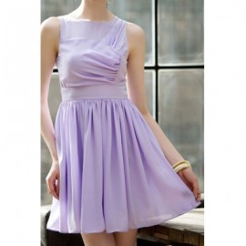 Vintage Jewel Neck Sleeveless Pleated Solid Color Dress For Women