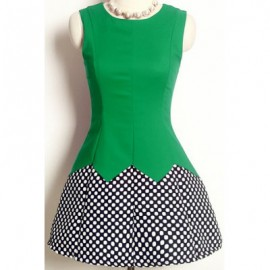 Vintage Jewel Neck Sleeveless Polka Dot Printed Splicing Dress For Women