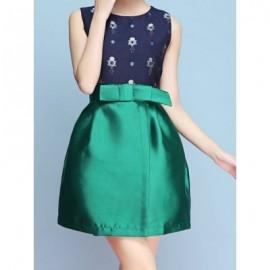 Vintage Jewel Neck Sleeveless Print Bowknot Dress For Women