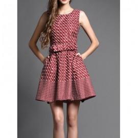 Vintage Jewel Neck Sleeveless Printed Belt Dress For Women