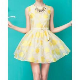 Vintage Jewel Neck Sleeveless Printed Sashes Dress For Women