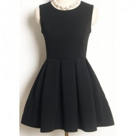 Vintage Jewel Neck Sleeveless Solid Color A-Line Dress For Women