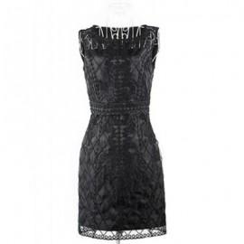 Vintage Jewel Neck Sleeveless Solid Color Applique Dress For Women