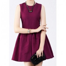 Vintage Jewel Neck Sleeveless Solid Color Pleated Dress For Women