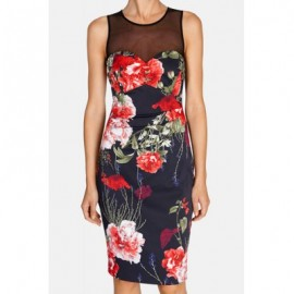 Vintage Jewel Neck Sleeveless Voile Splicing Floral Print Dress For Women