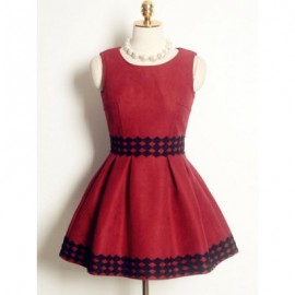 Vintage Jewel Neck Sleeveless Zippered Embroidered Dress For Women