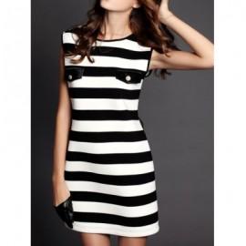 Vintage Jewel Neck Striped Printed Sleeveless Dress For Women
