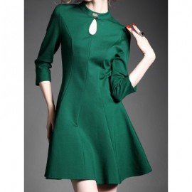 Vintage Keyhole Neck 3/4 Sleeves Lace Splicing Solid Color Dress For Women