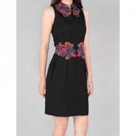 Vintage Keyhole Neck Embroidered Sleeveless Bodycon Dress For Women