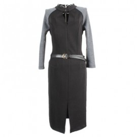 Vintage Keyhole Neck Long Sleeves Color Splicing Slit Dress For Women