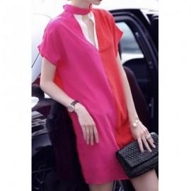 Vintage Keyhole Neck Short Sleeves Color Splicing Dress For Women