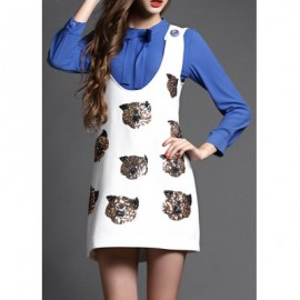 Vintage Long Sleeves Solid Color Blouse and Sequin Sundress Suits For Women