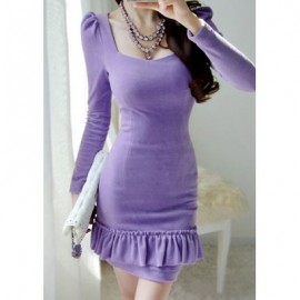 Vintage Long Sleeves Solid Color Flounce Dress For Women