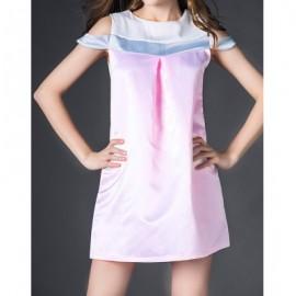 Vintage Round Collar Sleeveless Spliced Women's Dress