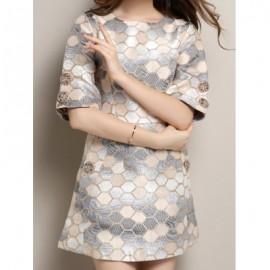 Vintage Round Neck Half Sleeve Studded Plaid Women's Dress