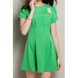 Vintage Round Neck Short Sleeve Button Design Women's Dress