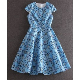 Vintage Round Neck Short Sleeve Flower Pattern Women's Dress