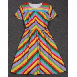 Vintage Round Neck Short Sleeve Striped Women's Dress
