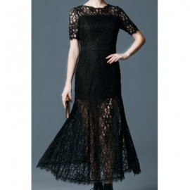Vintage Round Neck Short Sleeves Black Lace Long Dress For Women