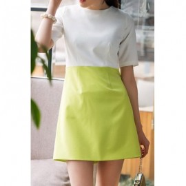 Vintage Round Neck Short Sleeves Color Splicing Dress For Women