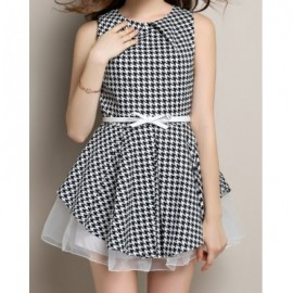 Vintage Round Neck Sleeveless Houndstooth Voile Spliced Women's Dress