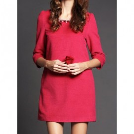 Vintage Scoop Neck 3/4 Length Sleeves Solid Color Beaded Dress For Women