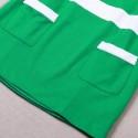 Vintage Scoop Neck 3/4 Sleeves Color Splicing Pocket Dress For Women