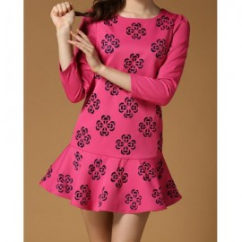 Vintage Scoop Neck 3/4 Sleeves Floral Print Flounce Dress For Women