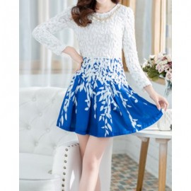 Vintage Scoop Neck 3/4 Sleeves Hollow Out Print Dress For Women