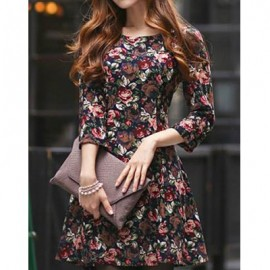 Vintage Scoop Neck 3/4 Sleeves Rose Print Dress For Women